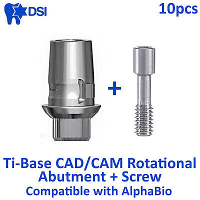 10x DSI Dental Rotational CAD/CAM Ti-Base Interface Int Hex AlphaBio Compatible