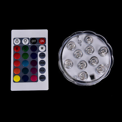 10 led submersible light battery waterproof remote control pool pond lighting BD