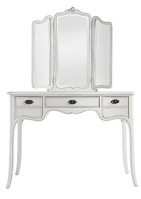 Ava Antique White Hand Carved French Style Dressing Table With Mirror