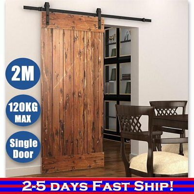 2M Sliding Barn Door Hardware Track Rail Set Home Office Interior Closet OZSTOCK