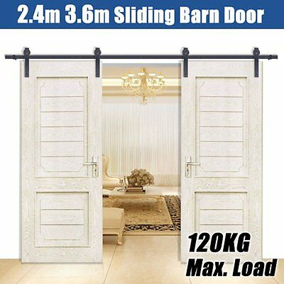 Black rustic sliding Double barn door hardware roller sliding track 2.4M 3.6M