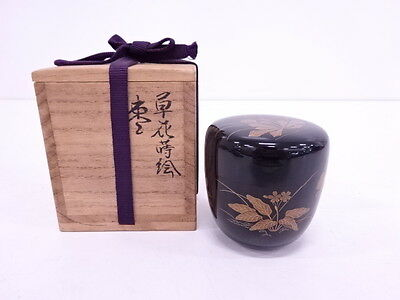 3120706: Japanese Tea Ceremony / Lacquered Natsume ( Tea Caddy ) / Gold Plants