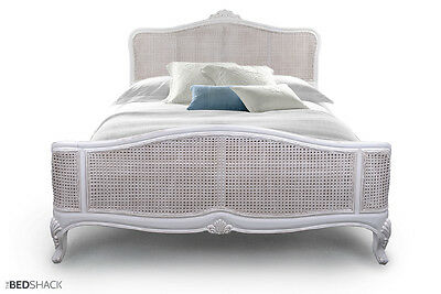 French Ivory / White / Taupe / Grey Shabby Chic Mahogany Wooden Cane Bed
