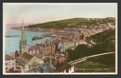 Rothesay Argyll & Bute From Chapel Hill c1930s Valentine Real Photo Postcard