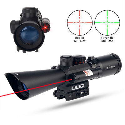 UUQ 3.5-10X40 illuminated Red/Green Mil Dot Rifle Scope W/ Red Laser Sight