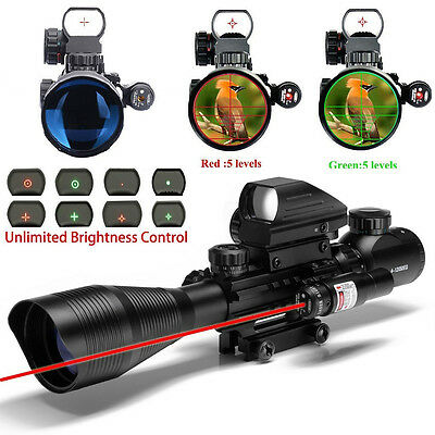 UUQ 4-12X50 Rifle Scope Range Find ReticleW/ RED Laser and Holographic Dot Sight
