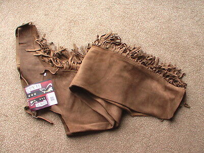Western Full Show Chaps FRINGED Leather zipped BROWN  XL UK 14 - 16 FREE P&P UK