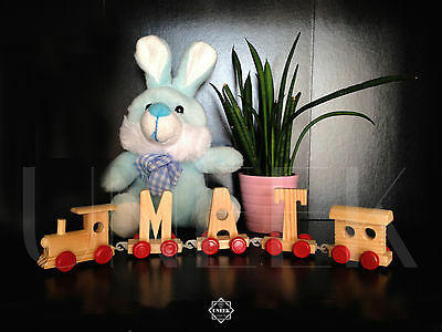 Personalise! Kids Wooden Alphabet Train Letters Childrens Learning Toy Gift