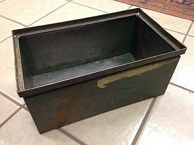 Vintage Industrial Stack-able Steel Storage Bins tote olive drab