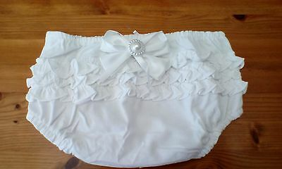 baby girls white frilly pants/knickers with white bow size 6-9 mths brand new