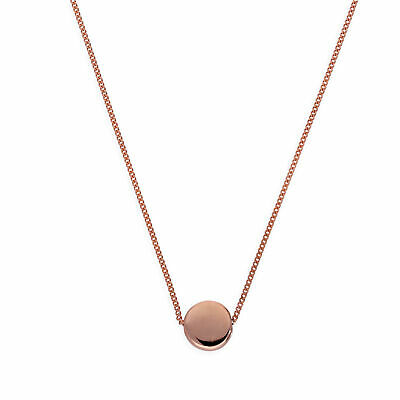 Rose Gold Plated Sterling Silver Round Disc 16 Inch Necklace Circle Plain