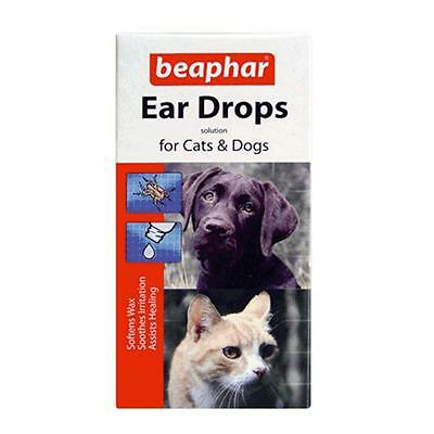 Beaphar Dog Puppy Cat Kitten Ear Drops Mite Wax Soothing Healing Solution 15ml