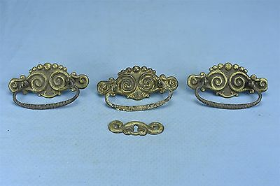 Antique SET 3 VICTORIAN PRESSED BRASS DRAWER PULL KEY HOLE COVER HARDWARE #03532