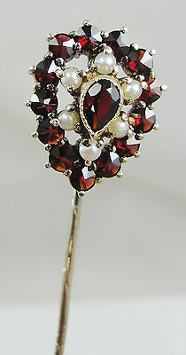 14K Yellow Gold Seed Pearls Garnet Lapel Stick Pin Pear Shape With Clutch