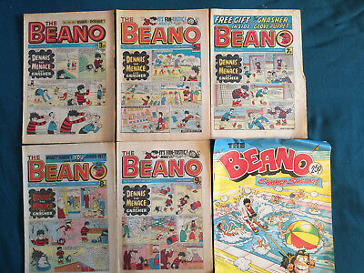 x6 Beano Comics no.1701 1873 1971 1987 2035 + Summer Special from 1975 + 1980
