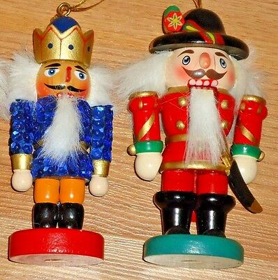 """NUTCRACKERS wooden Christmas Ornaments (2) 5""""H"""
