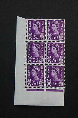 Scotland XS3a 3d 2 Blue Bands Cyl 5 dot Block of 6 U/M