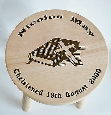 Customised Wooden Milking Stool for Boy, Girl, (Bible) Christening, Baptism Gift