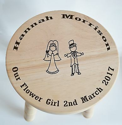 Customised Wooden Milking Stool for Flower Girl - wedding... free engraving