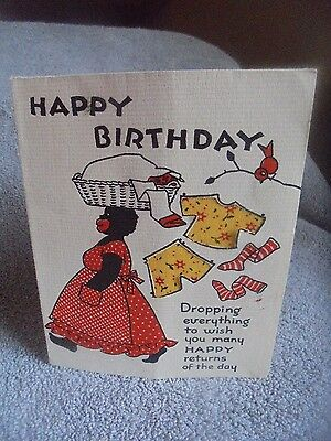 Vtg Black Americana Birthday Card Laundry Cut Out Calico Cloth Norcross  Used