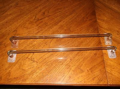 """2 Vintage Mid-Century 18"""" Clear Bend Glass Towel Rods/Holders W/Brackets"""