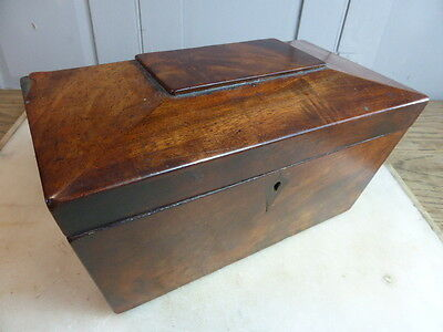 Antique sarcophagus shaped wooden tea caddy (no 2)