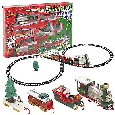 Christmas Tree Musical Santa Train & Track Set Toys Kids Party Gift Decoration