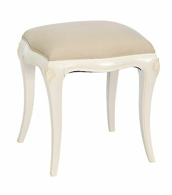 Bordeaux Antique White Vintage Mahogany Upholstered French Shabby Chic Stool