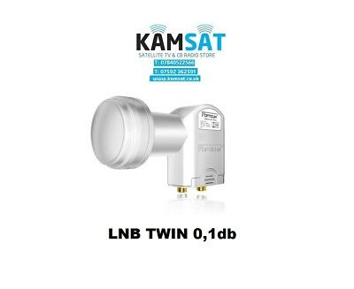 LNB TWIN WHITE DUAL 40mm 0.1dB FULL HD 3D 4K NC+ CYFROWY POLSAT SKY SATTELITE