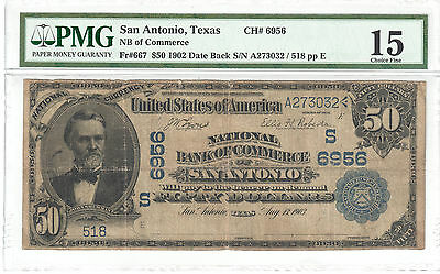 $50 1902 National Bank of Commerce San Antonio, TX Fr#667 PMG Choice F15 CH#6956