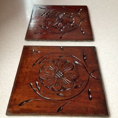 Vintage Wooden Panel Plaque X 2 Carved Antique Reclaimed Old Wood Architectural