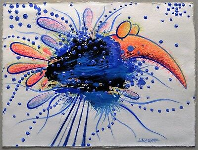 "Ioannis Koutsouris ""MYTHICAL BLUE BIRD"" Acrylic Ink Pencil Drawing Paper 2011"