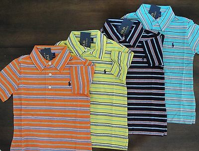 NWT Ralph Lauren Boys S/S Blue Striped Cotton Jersey Polo Shirt Sz 4/4t NEW $35