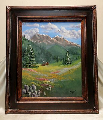 C. Weimer Vintage Cabin within Nature Oil Painting in Vintage Style Decor Frame