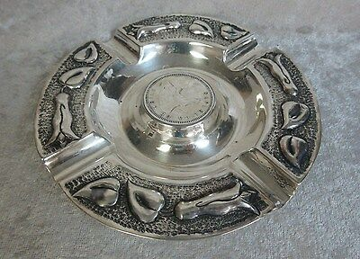 Silver Coin Ashtray - Marked 900 - Chile Coin 1927 - 5 Cinco Pesos