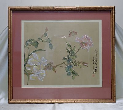 Very Fine Estate Found Vintage Signed Oriental Roses & Butterfly Painted Artwork
