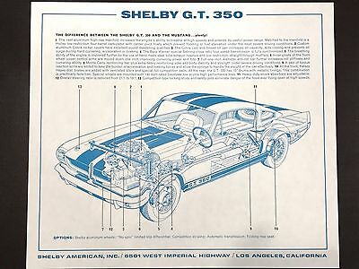 Shelby American G.T. 350 differences diagram – G.T. 350 and regular Mustang