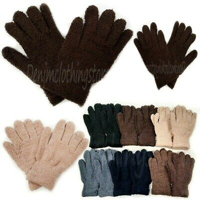 6, 12 Pair Men Women Black Fuzzy Cozy Winter Warmer Knit Knitted Gloves Stretch