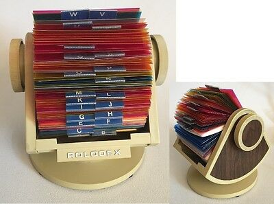 One Vtg Rolodex SW-24 Swivel Index File Beige and Woodgrain Look Unused Cards