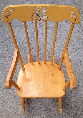 """Vintage Thayer """"Tops For Tots"""" Wood Children's Rocking Chair Boy Girl Decal"""