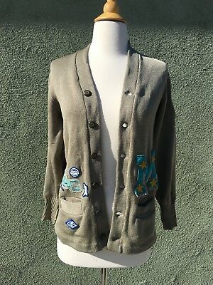 Vintage 1950s Letterman Sweater With Lots Of Patches / School Sweater / Award Sw