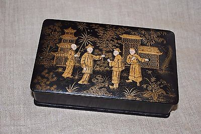 Antique Chinese Oriental Hand Painted Double Card Box