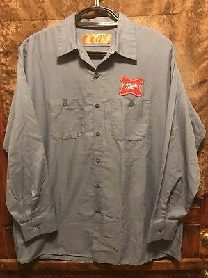 MILLER BREWING Milwaukee ~ Men's XL ~ HIGH LIFE BEER L/SLV Delivery Work Shirt