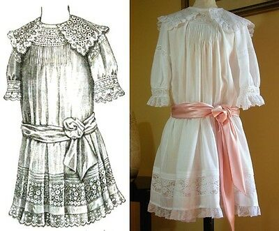 Antique Sewing Pattern Sweet 1912 Edwardian Girl's Lingerie Dress Age 5-8 yrs
