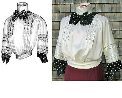 Antique Pattern for Fancy 1911 Edwardian Titanic Blouse with Contrast~XSm to XL