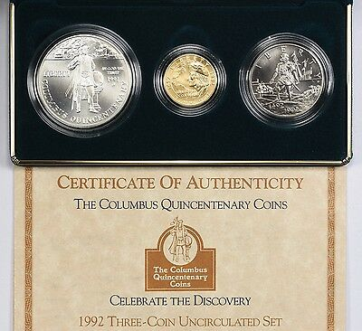 1992 Columbus Quincentenary Gold $5, Silver $1, Clad 50c 3-Coin UNC Set