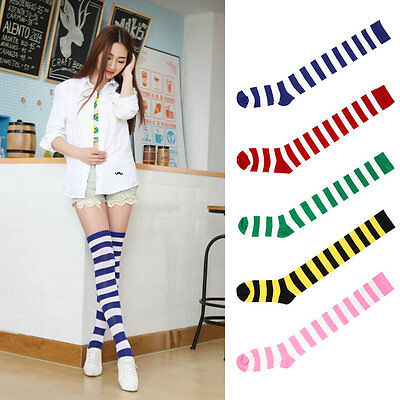 Sexy Women Girl Thigh High Striped Over the Knee Socks Cotton Stockings ZU