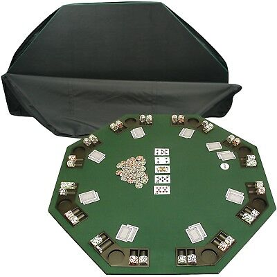 8 Player Poker Table Top Card Texas Holdem Casino Cup Holders Chip Tray Case