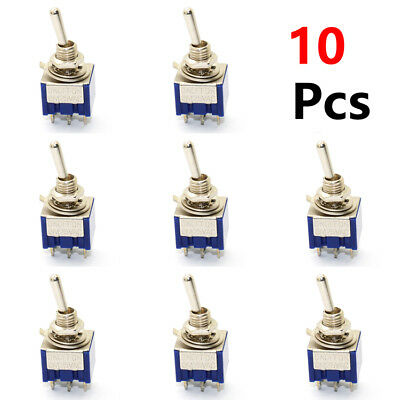 10 Pcs 3 Position Mini MTS-203 6-Pin DPDT ON-OFF-ON 6A 125VAC Toggle Switches
