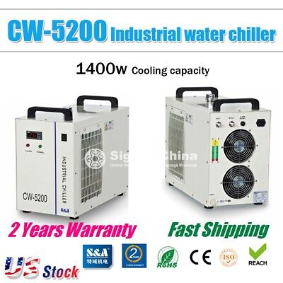 US Stock, S&A CW-5200DH Industrial Water Chiller for Laser Tube Cooling 110V